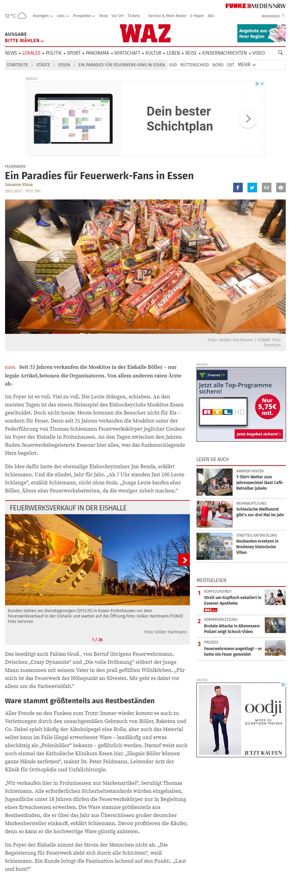 WAZ Presseartikel 29.12.2015