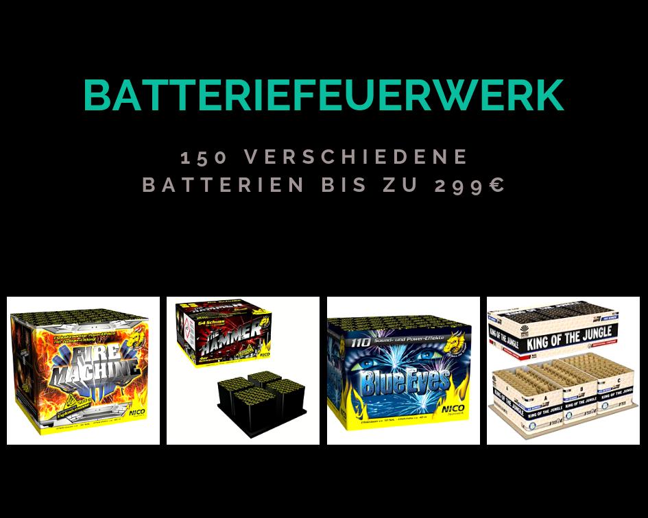 Batteriefeuerwerk - 150 verschiedene Batterien bis zu 299€